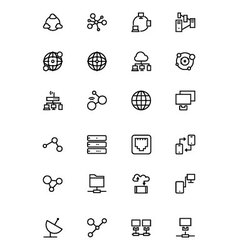Network and Sharing Outline Icons 1 vector image