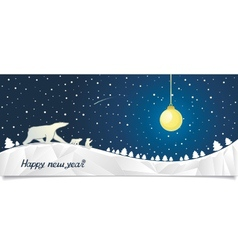 New Year banner with bears in the north vector