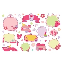 Newborn bagirl badgeslabels set bashower vector