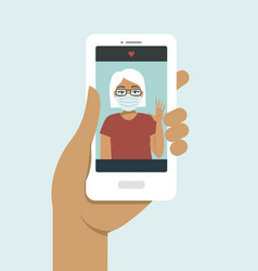 online call with your parents during quarantine vector image