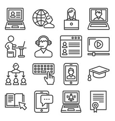 Online education icons set on white background vector