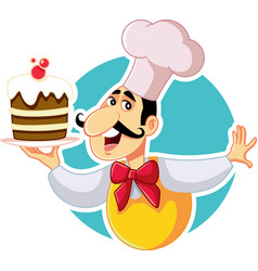 pastry chef holding cake cartoon vector image