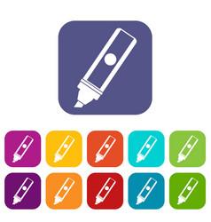 Permanent marker icons set flat vector