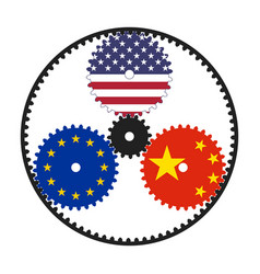 Planetary gear with flags usa eu and china vector