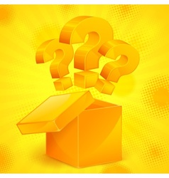 Question marks in box yellow vector image