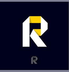 r monogram consist white and yellow ribbon vector image