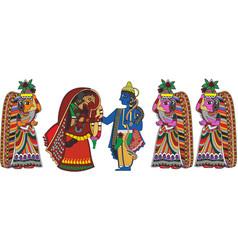 Radha krishna wedding vector
