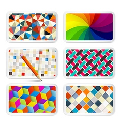 Retro Backgrounds Set - 6 Different Vintage vector image