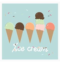 Row of summer ice cream cones vector image