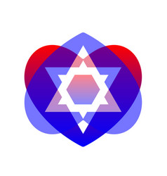 sacred symbol star of david in heart vector image