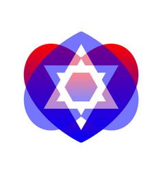 Sacred symbol star of david in heart vector