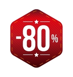 Sale eighty percent off banner red patch vector