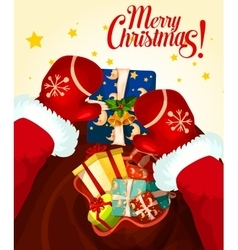 Santa Claus with gift bag Christmas card design vector