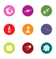 satellite field icons set flat style vector image