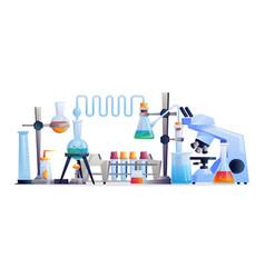 Scientific research equipment glassware microscope vector