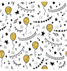 Seamless pattern hand drawn doodle cartoon objects vector