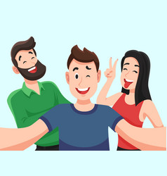 selfie with friends friendly smiling teenagers vector image