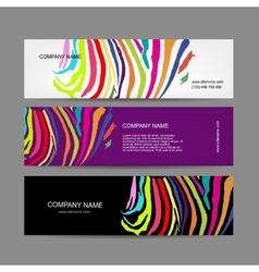 Set of banners colorful zebra print design vector image