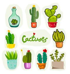 set of cartoon cactuses vector image