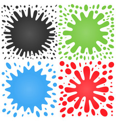 set of four splashes with lots of small splashes vector image