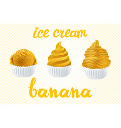 Set of yellow ice cream with of different shapes vector