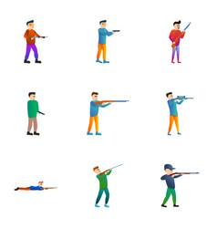 shooter icon set cartoon style vector image