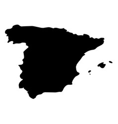 spain - solid black silhouette map of country area vector image