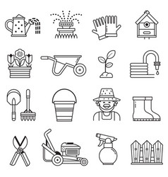 spring gardening icons set in line art vector image