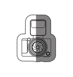 Sticker monochrome contour of analog camera with vector