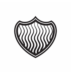 Striped shield icon simple style vector