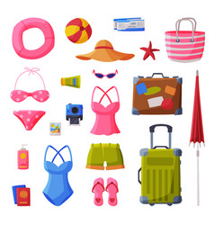 summer vacation objects collection swimsuit vector image