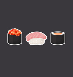 sushi icons flat set vector image