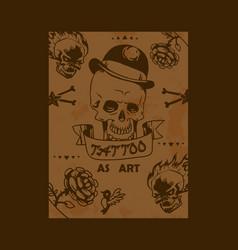 tattoo studio poster grunge vector image