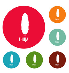thuja tree icons circle set vector image