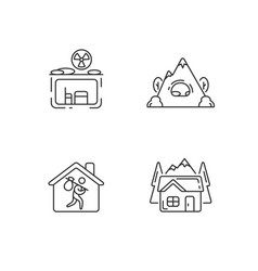 Transitional housing linear icons set vector