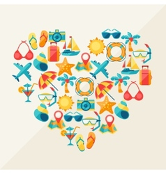 travel and tourism background icons in heart vector image
