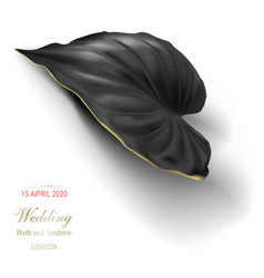 Tropical black and gold leaf on white background vector