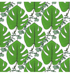 Tropical green leaves pattern seamless pattern vector
