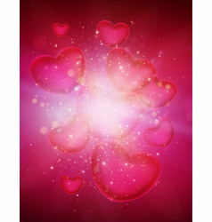 valentines day card with hearts template vector image