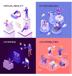 Virtual reality isometric design concept vector