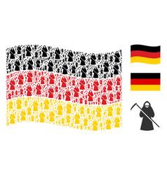 waving german flag mosaic of death scytheman icons vector image