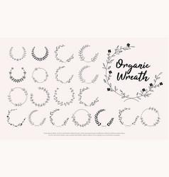 wedding invitation floral wreath minimal design vector image