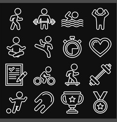 wellness sport and fitness icons set line style vector image