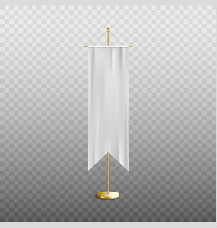 white long vertical pennant empty mockup on stand vector image