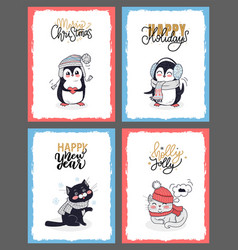 winter animals in warm cloth christmas cards vector image