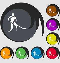 Winter sport hockey icon symbols on eight colored vector