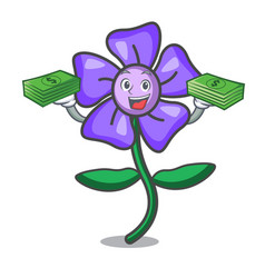 With money bag periwinkle flower mascot cartoon vector