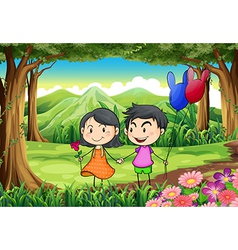 A couple dating at the jungle vector image vector image