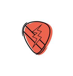 color rock emblem with thunder symbol design vector image vector image