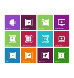 Electronic chip icons on color background vector image